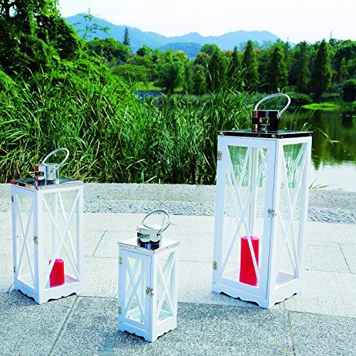 Mojawo 3er Set Luxus XL Gartenlaterne EchtholzEdelstahl Dach Windlicht Laternen Kerzenhalter Höhe 365171 cm Weiß