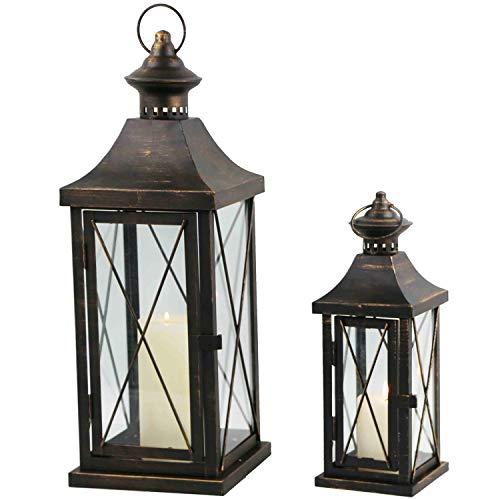 Multistore 2002 2tlg Laternen-Set H3450cm SchwarzGold Laterne Gartenlaterne Kerzenhalter Gartenbeleuchtung Windlicht