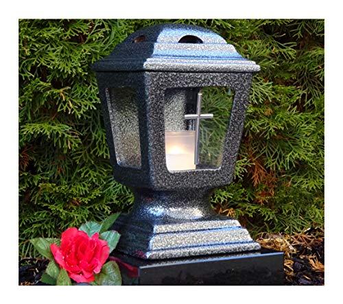 ♥ GRABLATERNE Josef Keramik Silber Glas Kreuz MIT GRABKERZE GRABLAMPE Grablicht GRABSCHMUCK GRABLEUCHTE Laterne Kerze LICHT GRABDEKORATION Friedhof Garten