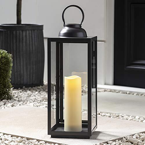 Lights4fun Eisen Laterne Outdoor mit LED Kerze batteriebetrieb Timer 57cm