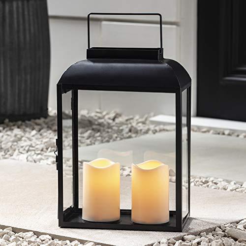 Lights4fun Große Metall Laterne Outdoor mit 2 LED Kerzen batteriebetrieb Timer 35cm