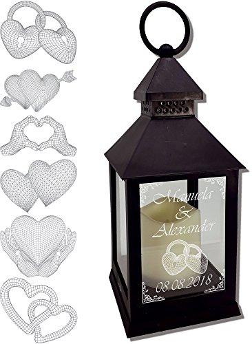 Udigde Mini Laterne mit LED Kerze schwarz Mod 3 mit Text und 3D Motiv-Gravur 24x10x10 cm mit Timerfunktion - Hochzeitslaterne