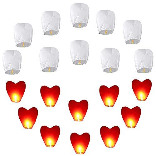 20pcs Chinesische Himmelslaternen Set 10 Stück Weiß  10 Stück Rotes Herz Umweltfreundliche Himmelslaternen für Hochzeiten Partys Begräbnis Neujahr Chinesisches Neujahr Silvesterfliegenlaterne
