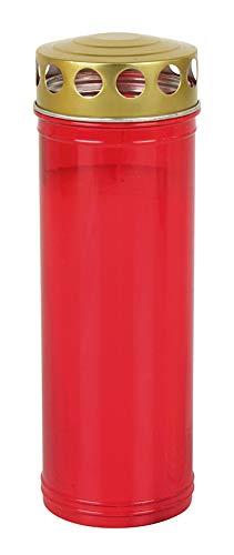 Buri Grablicht XL mit Goldenen Deckel Rot Ewiglicht Grabkerzen Laterne Lampe Deko