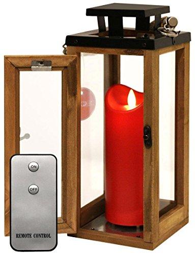 Dekovita Holz-Laterne 30cm Temperglas Gartenlaterne inkl Tronje 18cm Outdoor LED-Kerze Rot m Timer u Fernbedienung