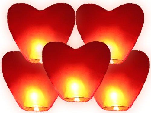 Himmelslaternen Herz XXL rot für Hochzeit  Skylaternen 5 Stück nicht entflammbar Höhe ca 110 cm Durchmesser ca 70 cm  Skyballon schwebende Glückslaterne 100 biologisch abbaubar  5 Laternen Herz rot  ALSINO