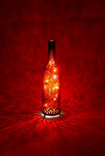 Home&Decorations H&D Original-Glas Laterne Flaschenlicht LED antik Rot Ø8 cm × H29cm