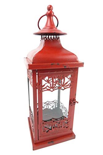 exlusive große Gartenlaterne großes rotes WINDLICHT Krone Metall Leuchte Windschutz Kerze Teelicht rustikal ROT