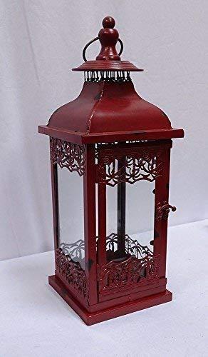 linoows Rustikale Rote Windlicht Laterne im Landhausstil Nostalgie Laterne