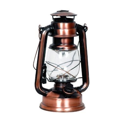 Eaxus 15 LED Laterne im VintageRetro Öllampen-Design Schöne DekoDekoration für Garten Wohnzimmer Hochwertige Kupfer Bronze Lampe mit schwenkbarem Tragegriff warmweißes Licht
