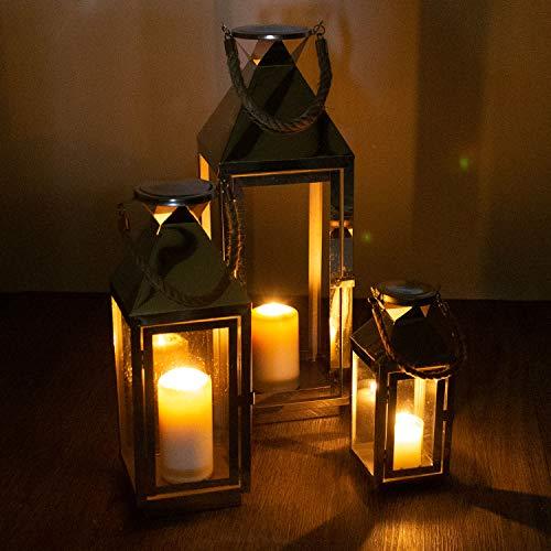 Multistore 2002 Edles 3tlg Laternen-Set H5554025cm Edelstahl mit Griff aus geflochtenem Seil und Glasfenstern Laterne Windlicht Gartenlaterne Kerzenhalter Gartenbeleuchtung Dekoration