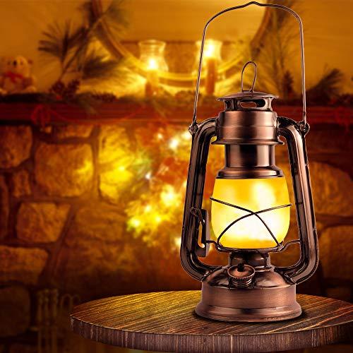 Eterbiz Flamme Lampe Licht Antik Kupfer Laterne Flackernde LED Hängende Metall Laterne - Weihnachtslaternen Vintage Laterne Lampe