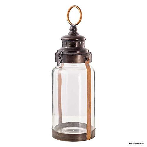 Florissima Metall Laterne Windlicht 49cm Sturmlaterne Kupfer Country Home Lampe Leuchte Industriedesign Weihnachten Wohndeko Licht Loft