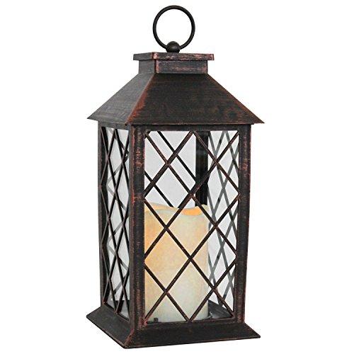 Multistore 2002 Laterne H28cm mit LED Kerze mit Flacker-Effekt Laterne Windlicht Gartenlaterne Kerzenhalter Gartenbeleuchtung Dekoration - Kupfer Antik-Optik