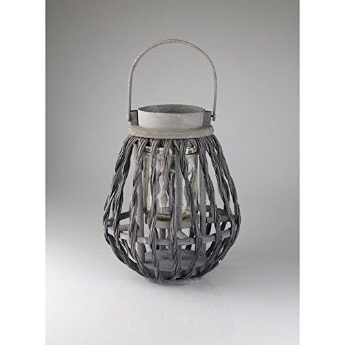 Bambus Laterne Grau Windlicht mit Glaseinsatz Gartenlaterne Shabby
