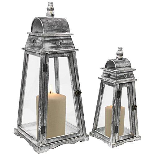 Multistore 2002 2tlg Laternen-Set England H4564cm Grau Shabby-Look Laterne Gartenlaterne Kerzenhalter Gartenbeleuchtung Windlicht
