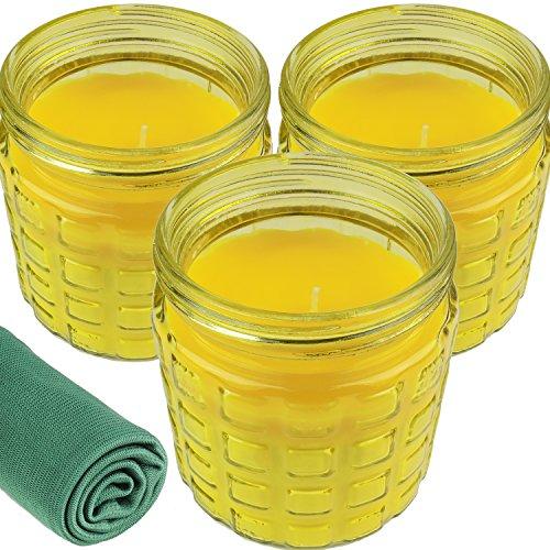 3 Citronella Duftkerzen im großen dekorativen Glas zur Mückenabwehr 24 Stunden Brenndauer Glas Ø 10 cm Höhe 12 cm Windlicht Anti-Mücken-Kerzen Zitronen-Duft für Outdoor und Garten Gelb