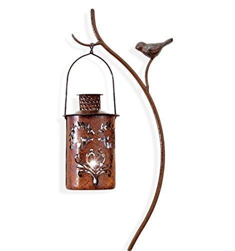 HausderHerzende Laterne rund mit Laternenstab im Set Windlicht für Kerze oder Teelicht  Stab Rostoptik