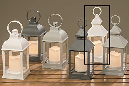 Meinposten Laterne LED mit Timer warmweiß Kerze Windlicht grau weiß Deko H 22 cm Batterie Modell 5
