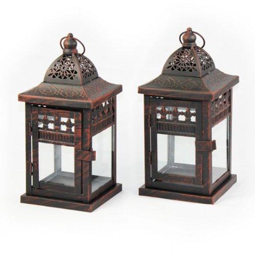 Pfauenhof Versandhandel 2er SET Laterne LUCCA braun Jugendstil 24cm Windlicht Metall Teelicht Beleuchtung Dekoration Kerze