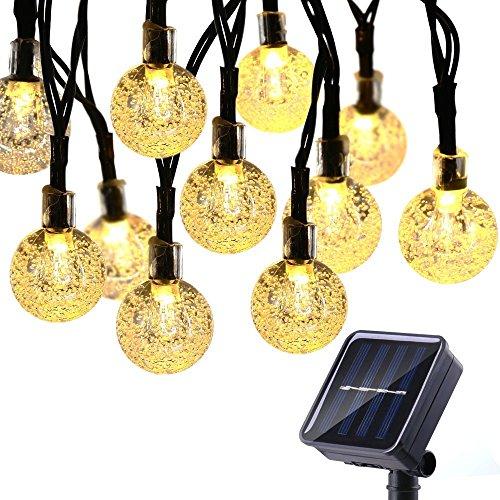 Qedertek Solar Lichterkette Außen 6m 30 LED Kugeln Weihnachtsbaum Lichterketten Warmweiß Weihnachtsbeleuchtung für Garten Hochzeit Party Weihnachten Deko
