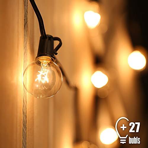 Tomshine Lichterkette Außen Hängend Lichterkette Globus Schnur Lichterkette 25 Birnen mit 2 Ersatzbirnen