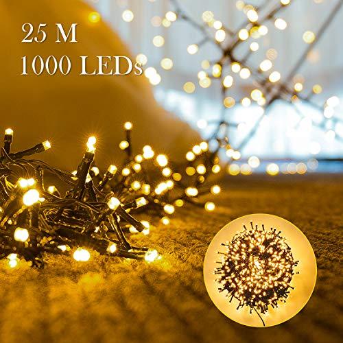 1000er LEDs Lichterkette 25M LED Weihnachtsbeleuchtung Innen und Außen Kupferdraht mit EU Stecker 8 Modi Wasserdicht für Weihnachten Garten Party Geburtstag Hochzeit Weihnachtsdekoration Warmweiß