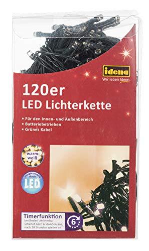 Idena 30140 - LED Lichterkette 120er für innen  außen warm weiß 6h Timer