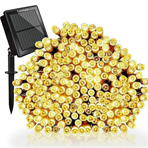 Tobbiheim Solar Lichterkette Außen 200 LED 22 Meter Wasserdicht IP65 mit USB Aufladung Stimmungslichter 8 Modi Außen und Innen Dekoration für Weihnachten Garten Terrasse Feiern - Warmweiß