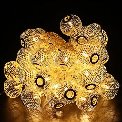 BlueFire LED Lichterkette Innen 95m 50LED Lampions Lichterkette Strombetrieben 8 Modi Fernbedienung Timer Wasserdicht Weihnachtsbeleuchtung für GartenHochzeitWeihnachtenPartyAußenWarmweiß