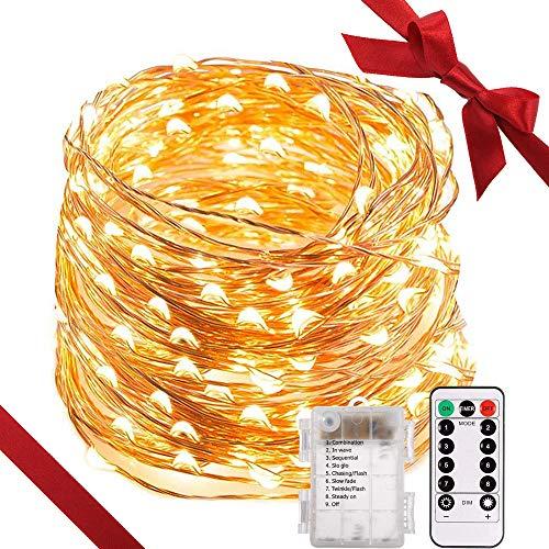 200 LED Lichterkette batterieTryLight 22M 8 Modi IP65 Wasserdicht LED Lichterkette warmweißSternen Lichterketten mit Fernbedienungideal für WeihnachtenGartenHochzeitParty&Haus