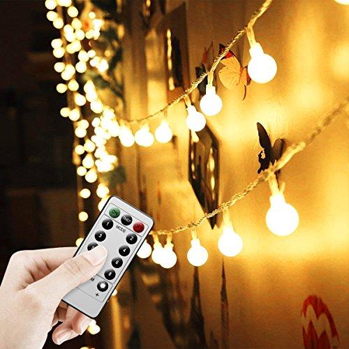 Lichterkette Batterie 5M16FT 50 LED Garten Lichterkette Außen - Wasserdichte Outdoor Lichterkette für PartyGarten  WeihnachtenTerrasse - 8 Modi Fernbedienung Kontroller