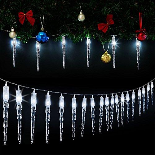 Monzana 80 LED Lichterkette Eiszapfen I Kaltweiß I Für Innen Außen I Länge 14m I Stecker - Weihnachtsdekoration Weihnachtsbeleuchtung Weihnachten Fenster Outdoor Deko