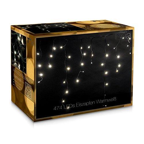 Tenia 474 LED Lichterkette Lichtervorhang Eiszapfen Eisregen 7m InnenAußen warmweiß