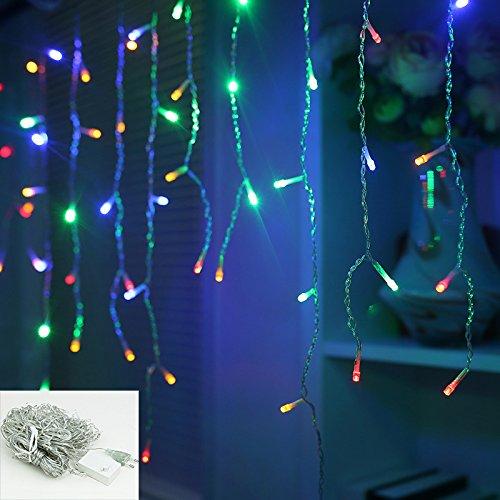 VINGO 20m 600 LED Eiszapfen Weihnachtsbeleuchtung RGB Lichterkette Romantisch Weihnachtschmuck für Weihnachten Hochzeiten Wedding Fassaden