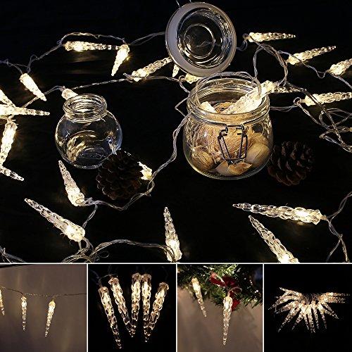 VINGO LED Eiszapfen Eisregen Lichternetz Warmweiß Lichterkette 31V Wasserdicht für Weihnachten Wedding außen Schaufenster 10M 40 Leds