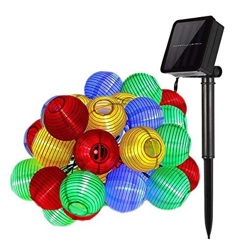DeepDream Solar Lichterkette außen bunt Lampion Lantern 6 Meter 30 LED wasserdichte Gartenbeleuchtung Innen und Außenbeleuchtung DekorationEnergieklasse A