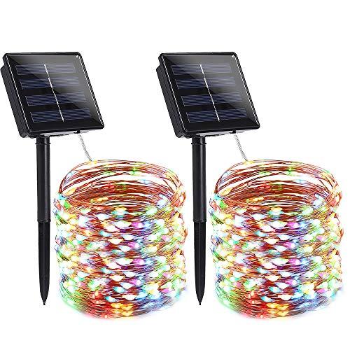Qedertek 2 Stück Solar Lichterkette Außen 22M 200 LED Bunt Kupferdraht Lichterketten 8 Modi IP65 Wasserdicht Solarlichterkette Außen Weihnachtsbeleuchtung für Weihnachten Party Hochzeit