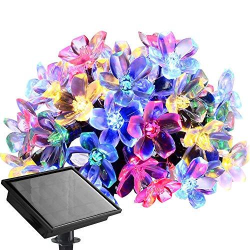 Solar Lichterkette LED Blüte Solarleuchte 53 Meter 500er Bunt Außenlichterkette Wasserdicht Beleuchtung für Weihnachten Hochzeit Garten Außen Deko usw
