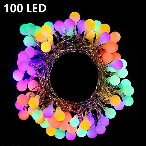 100 Leds Globe LichterketteNashaira Bunt String Innen und Außen Deko Glühbirne Lichterkette IP44 Wasserdicht für Party Garten Weihnachten Halloween Hochzeit Beleuchtung Deko Wohnzimmer