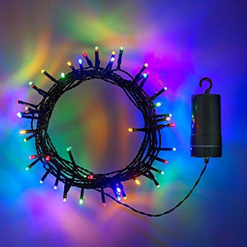 50er LED Lichterkette bunt grünes Kabel Timer Innen Außen Lights4fun