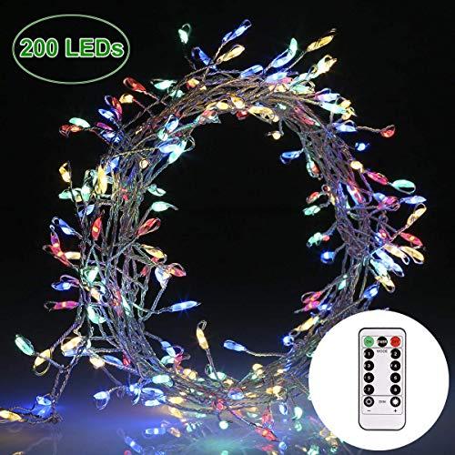 Lichterkette 200 leds GREEMPIRE 3M Bunt Kupferdraht Silber Lichterkette IPX7 mit Fernbedienung Akku Powered Innen Außen Weihnachtsbeleuchtung DIY Deko Flexibel Silberdraht Wasserdicht