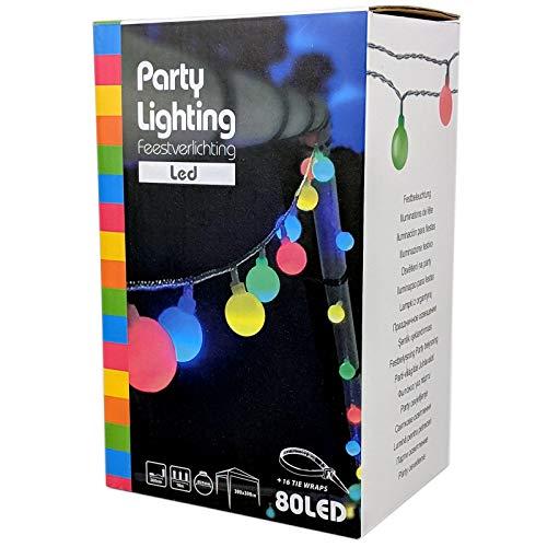 Party Lichterkette bunt 20m mit 80 LED Kugel Strombetrieben RGB IP44 für Balkon Terrasse Biergarten oder Party-Keller 80LED