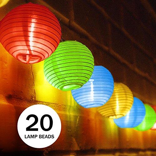 UBEGOOD Solar Lichterkette bunt Lampion 20 LED Laterne Wasserdichte Gartenbeleuchtung Lichterkette Lampion Laternen Deko für Garten Weihnachten Party Hochzeit Innen und Außen mit dem Stecker