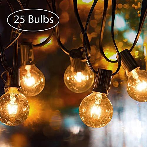 Garten Lichterketten tronisky Schnur Lichter InnenAußen Lichterkette 762M25FT G40 Warmweiß Glühbirne Globus String Lights Wasserdicht Lichterkette Deko für Patio Garten Bars Party Weihnachten