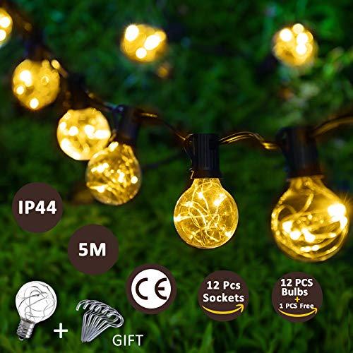 LED Lichterkette Glühbirnen Innen Außen warmweiß G40 Globe Lichterketten 5M Wasserdicht Weihnachtsbeleuchtung für Garten Weihnachten Hochzeit Party 12 Birnen mit 1 Ersatzbirnen 6Stk Haken