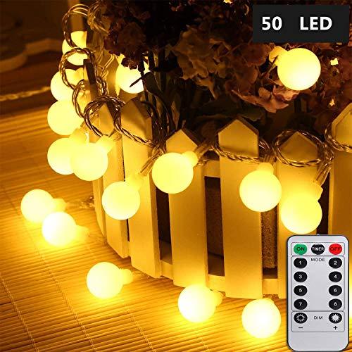 LED Lichterkette Globe Warmweiß 5M 50LEDs Lichterkette mit batterie Innen- und Außen Lichterkette Glühbirne Lichterkette glühbirnen mit 8Modi und Timer für Weihnachten Hochzeit Party Weihnachtsbaum
