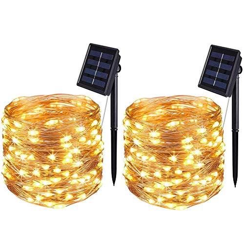 Bolweo Lichterkette mit Solarfee warmweiß 50 LEDs wasserdichte Kupferdraht Beleuchtung für drinnen und draußen Weihnachtsbaum Halloween Zuhause Garten Dekoration