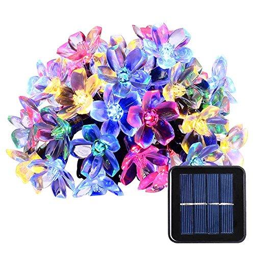 lederTEK Solar Lichterkette 64m 50 LED Pfirsichblüte Außenlichterkette Wasserdicht mit Lichtsensor Weihnachtsbeleuchtung Beleuchtung für Haushalt Außen Garten Hochzeit Weihnachten mehrfarbig