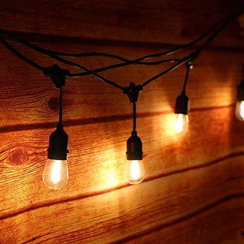 Tomshine Aussenlichterkette mit 15 E27 LED Birnen für Garten Balkon Hof IP65 WasserdichtStrombetrieben 15 m  Warmweiß